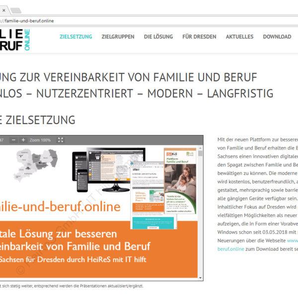 Webseite zum IT-Projekt Familie und Beruf