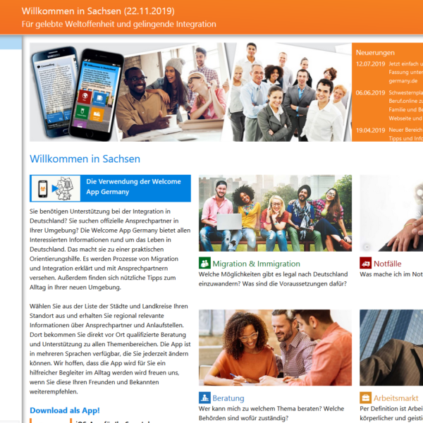 Nachhaltigkeit: HTML-Fassungen der Welcome-App für 20 Regionen online